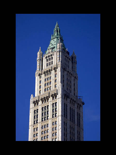 Top of the Woolworth building, was once the tallest skyscraper until 1930, Manhattan, New York, America, USA